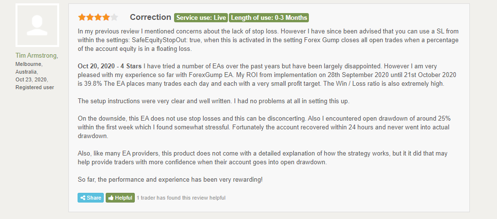 Customer review for Forex Gump on FPA