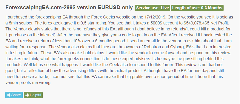 Client admitting that the EA is different from what is advertised