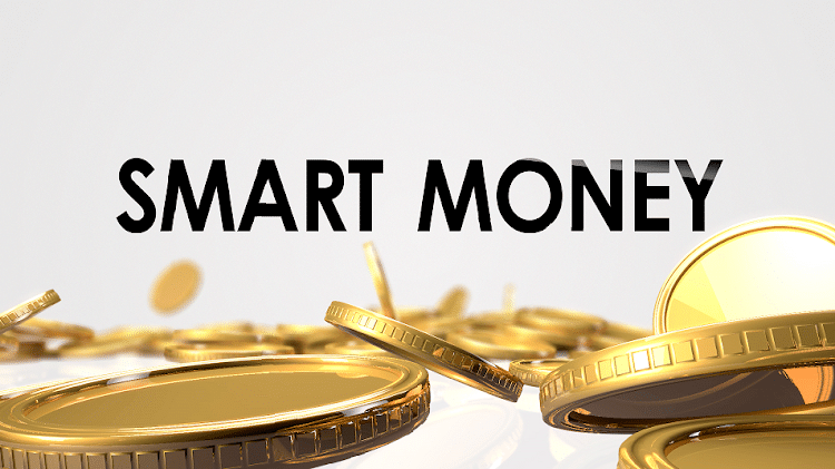 """Gold coins and text """"smart money"""""""
