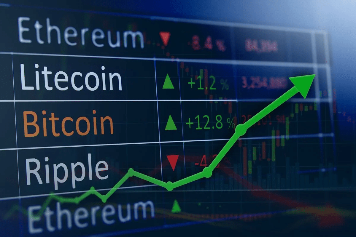 Arrow up on the screen with cryptocurrencies