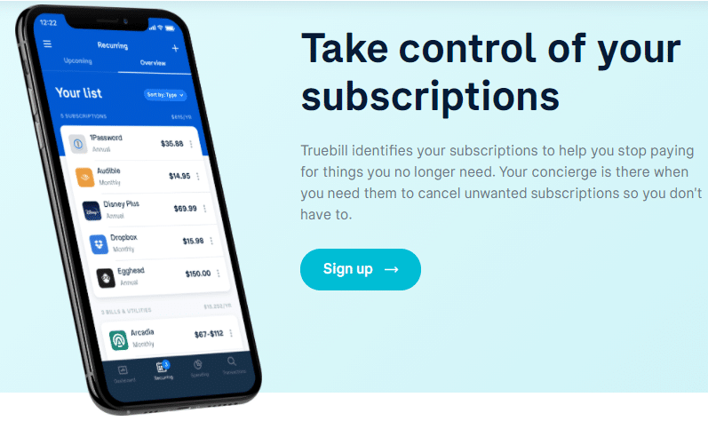 Text: Take control of your subscriptions