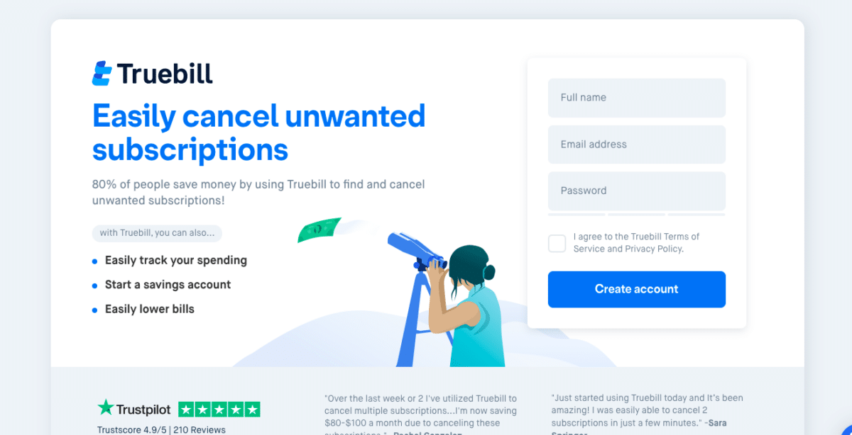 Truebill: Easily cancel unwanted subscriptions